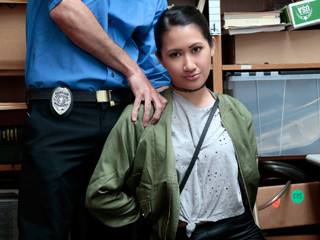 Shoplifter chick Jade sucks and fucks the big cock of an LP officer