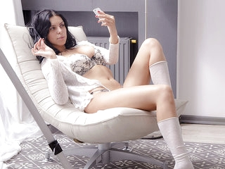 18 year old Ada parted her legs to insert the dildo deeper in her virgin sex