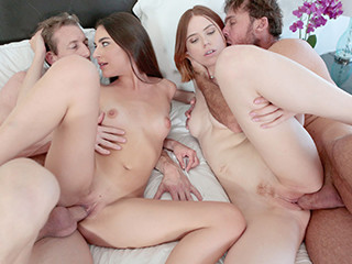 Two hot friends Arielle Faye and Pepper Hart swap each others dads